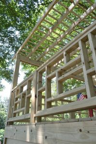 Porch railing covers brick on Buckhead home