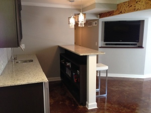 Basement remodeling with Granite Countertops, Flat Screen and Kitchen Sink in East Cobb, GA