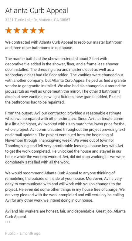 Customer Review Atlanta Curb Appeal