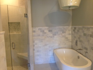 Marble Tile Freestanding Soaking Tub Installation Atlanta Curb Appeal